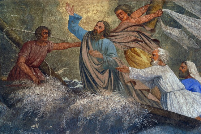 Jesus Calms a Storm on the Sea, painting on the church altar